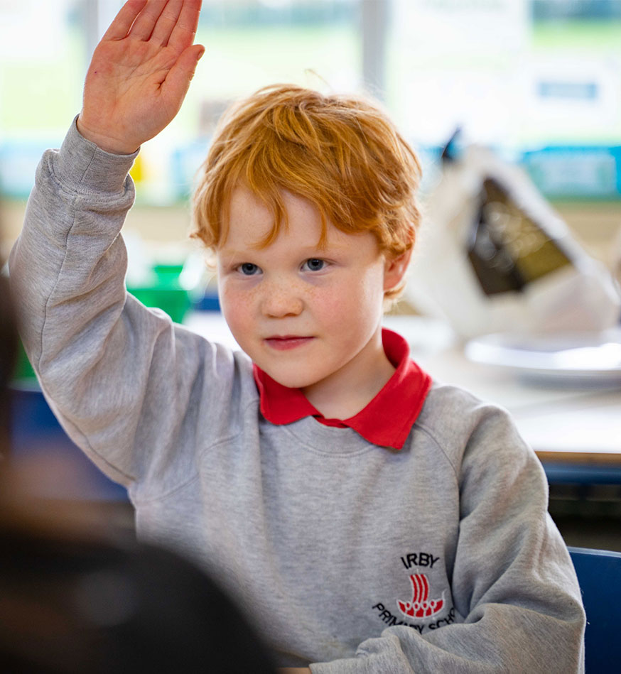 Child raising his hand